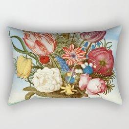 """Ambrosius Bosschaert """"Bouquet of Flowers on a Ledge"""" Rectangular Pillow"""