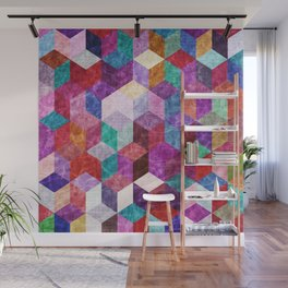 Colorful Geometric Pattern #09 (3D Cube) Wall Mural