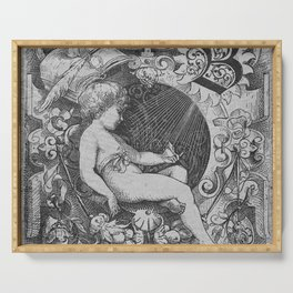 Cherub | Angels Vintage | Victorian | Sketch | Letter B Serving Tray