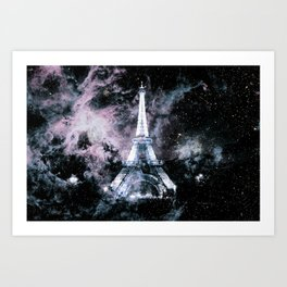 Paris Dreams Pale Pink & Blue Galaxy Art Print