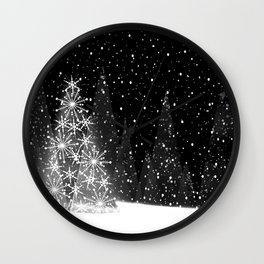 Elegant Black and White Christmas Trees Holiday Pattern Wall Clock