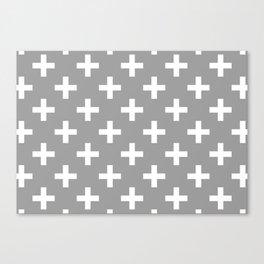 Crosses | Criss Cross | Plus Sign | Hygge | Scandi | Grey and White | Canvas Print