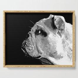 english bulldog dog vector art black white Serving Tray