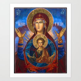 Madonna and Child Icon Virgin Mary Byzantine Orthodox Art work Art Print