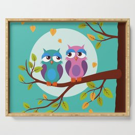 Sleepy owls in love Serving Tray