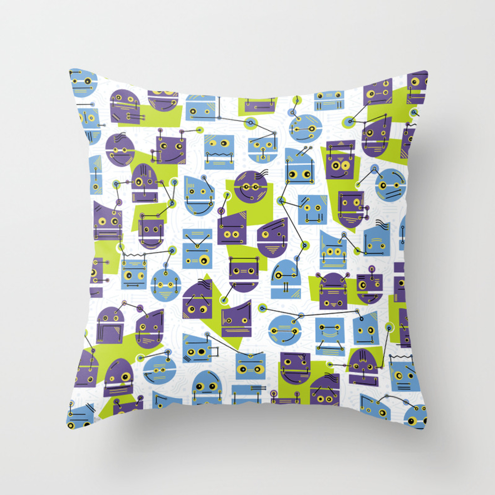 Robots Doodle Throw Pillow by Skuishy PLW8916092