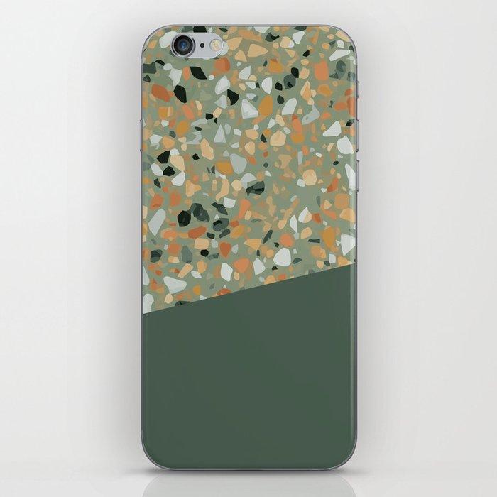 Terrazzo Texture Military Green #4 iPhone Skin