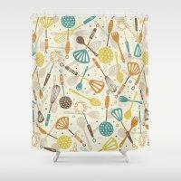 kitchen Shower Curtains featuring Kitchen Utensils by Anna Deegan