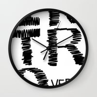 introvert Wall Clocks featuring Introvert by Lizzi Davis