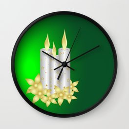 Shiny candles and flowers Wall Clock