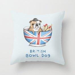 British Bowl Dog Throw Pillow