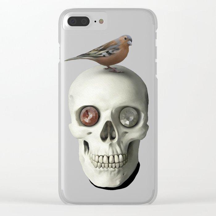 Skull & bird, watercolor Clear iPhone Case
