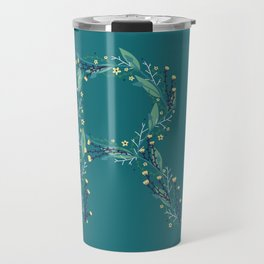 Turquoise flowers alphabet R Travel Mug