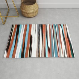 colorful abstract striped pattern Rug