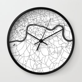 London White on Gray Street Map Wall Clock