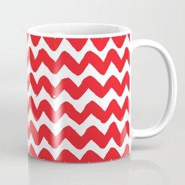 Red Brushstroke Chevron Pattern Coffee Mug