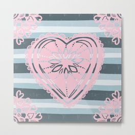 Have a Heart in pink & grey / gray Metal Print