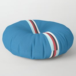 Pure Racing - Simple Lines on Blue Floor Pillow