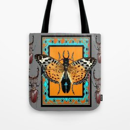 CONTEMPORARY  BUTTERFLY GREY STAG-HORNED BEETLES Tote Bag