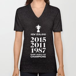New Zealand Treble Rugby World Cup Champions Unisex V-Neck