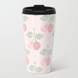 Cherry Cross Stitch Pattern on pink Travel Mug