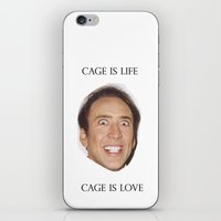 nicolas cage iPhone & iPod Skins featuring Cage is Love // Cage is Life by Jared Cady