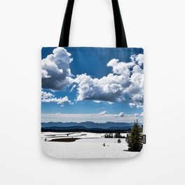 Cloudy Snowy Open Ladscape - Crater Lake National Park, Oregon Tote Bag