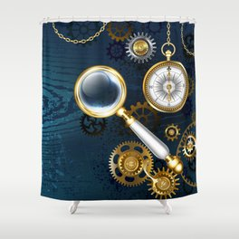 Steampunk blue background with magnifier Shower Curtain