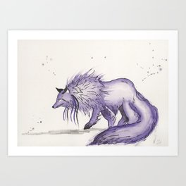 Hitodama the spirit wolf. Art Print