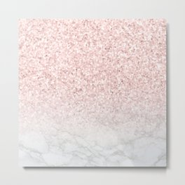 Pink Rose Gold Glitter and Marble Metal Print