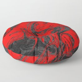 Black & Red Marble Floor Pillow