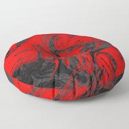 Black & Red Marble I Floor Pillow