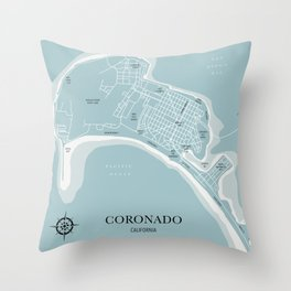 Blues Coronado California Map Throw Pillow