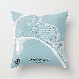 Blues Coronado California Map Throw Pillow