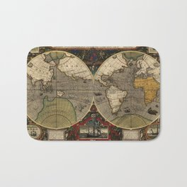 1595 Vera Totius Expeditionis Nauticae - Map of Sir Francis Drake's Circumnavigation of the Globe Bath Mat