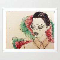 sunglasses and flowers Art Print