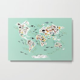 Cartoon animal world map for children, kids, Animals from all over the world, back to school, mint Metal Print