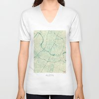 austin V-neck T-shirts featuring Austin Map Blue Vintage by City Art Posters