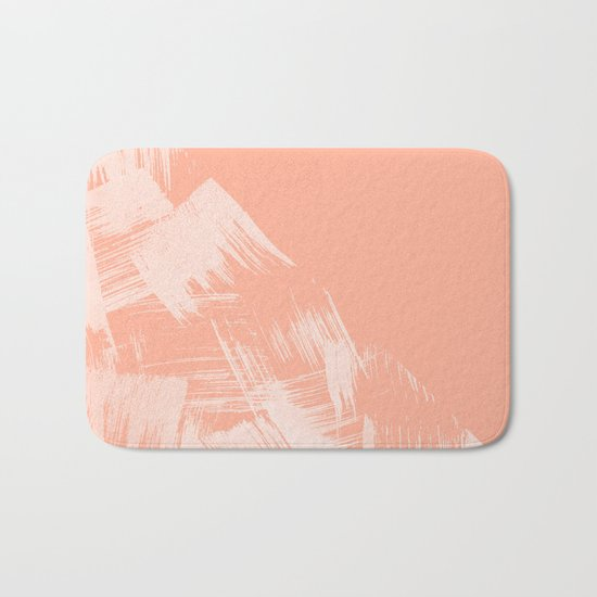 Sweet Life Paint Swipes Peach Coral Pink Bath Mat