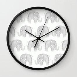 Modern gray white watercolor pastel cute elephant Wall Clock