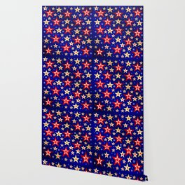 christmas pattern red star, gold stars,blue shiny background Wallpaper