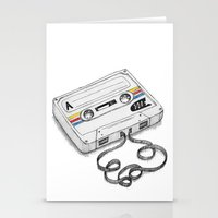 cassette Stationery Cards featuring Cassette by Sonia Puga Design