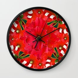 RED HOLIDAYS CANDY CANES & RED  FLOWER ABSTRACT Wall Clock