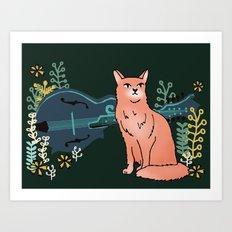 Moggy & Mandolin Art Print