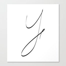""" Singles Collection "" - One Line Minimal Letter Y Print Canvas Print"