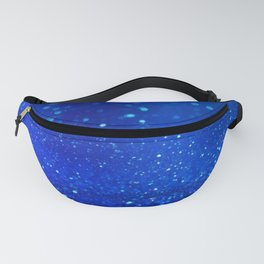 Abstract blue bokeh light background Fanny Pack