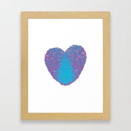 Pop art heart, Turquoise heart, Blue love art, Blue Heart print, Blue Heart graphic, Large heart Framed Art Print