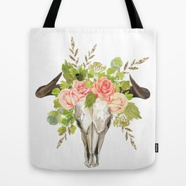 Bohemian bull skull and antlers with flowers Tote Bag