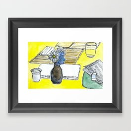 Mini Ikebana on a table Framed Art Print
