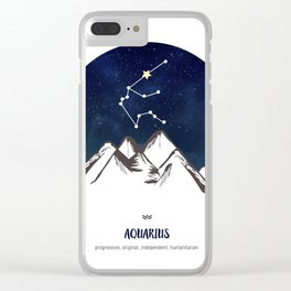 Astrology Aquarius Zodiac Horoscope Constellation Star Sign Watercolor Poster Wall Art Clear iPhone Case